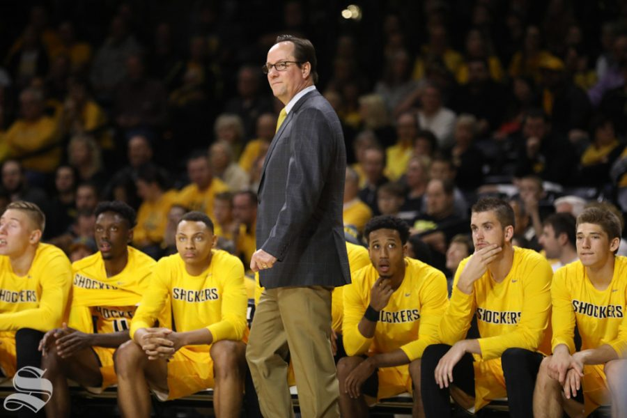 Wichita State head coach Gregg Marshall walks along the bench during the Shockers game against Savannah State in Koch Arena.