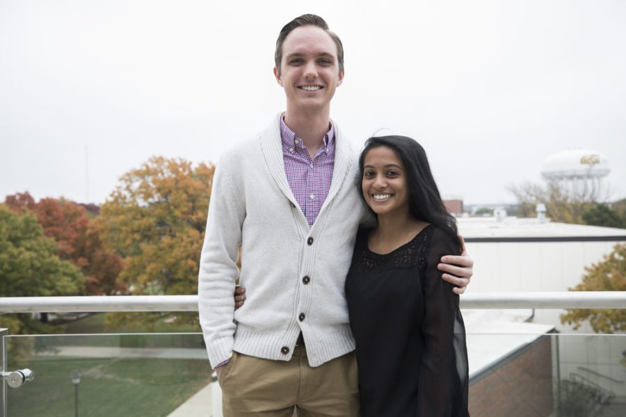 Dane Laughlin and Kavya Natesan, the winners of the 2017 WSU Student of the Year scholarship, pose for a photo.