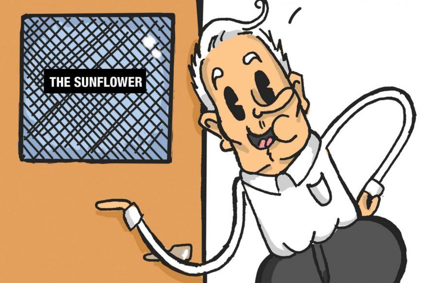 Editorial Cartoon: Bardo gives tour of campus to members of KBOR