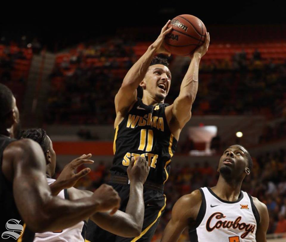Landry Shamet drives to the basket against Oklahoma State. Shamet scored a career-high 30 points as Wichita State won in Stillwater, Oklahoma, for the first time in 60 years.