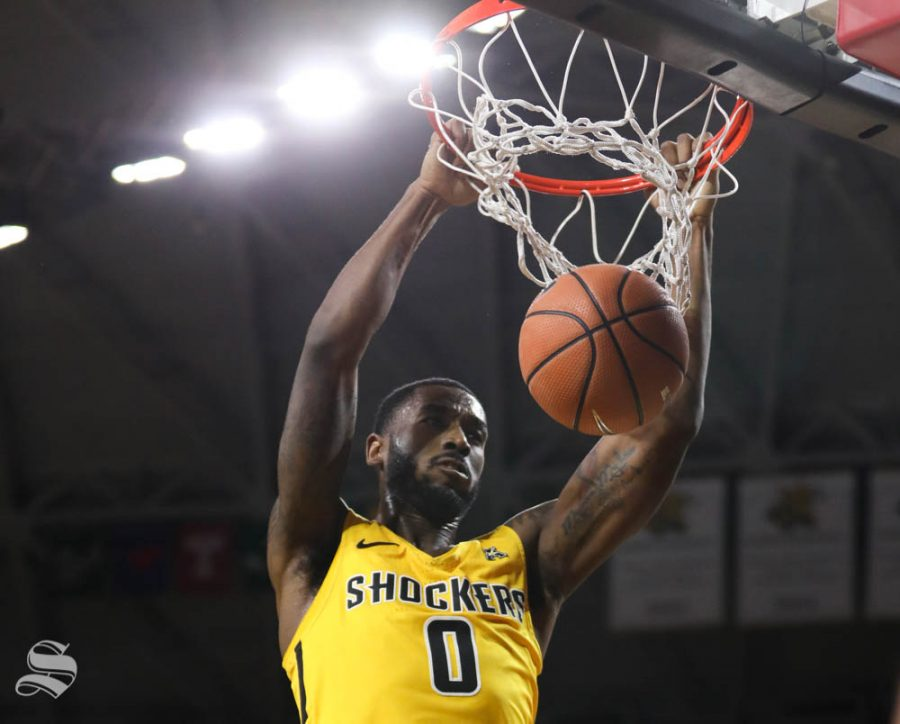 Wichita State forward Rashard Kelly slam dunk against the Arkansas State Red Wolves during the second half in Koch arena