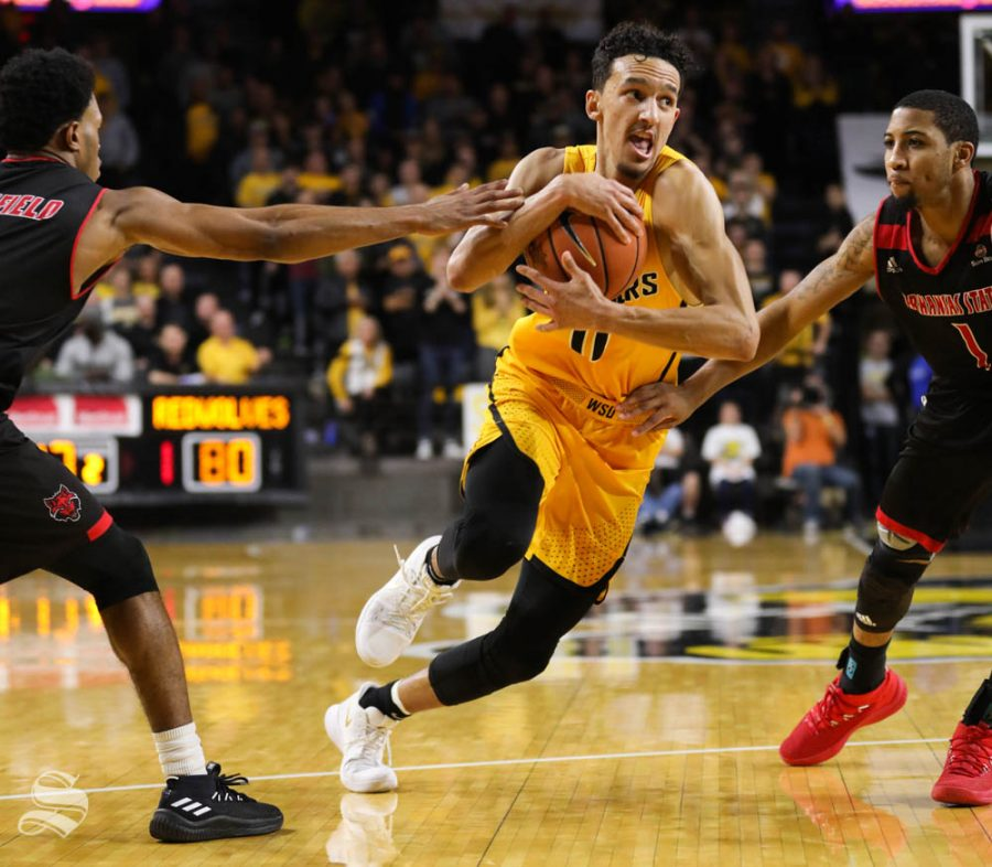 Wichita State guard Landry Shamet drives to the basket against the Arkansas State Red Wolves during the second half in Koch arena