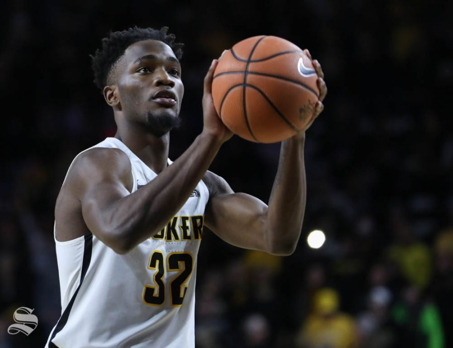 Wichita State forward Markis McDuffie prepares to shoot a free throw during the second half against the Florida Gulf Coast Eaglesin Koch arena