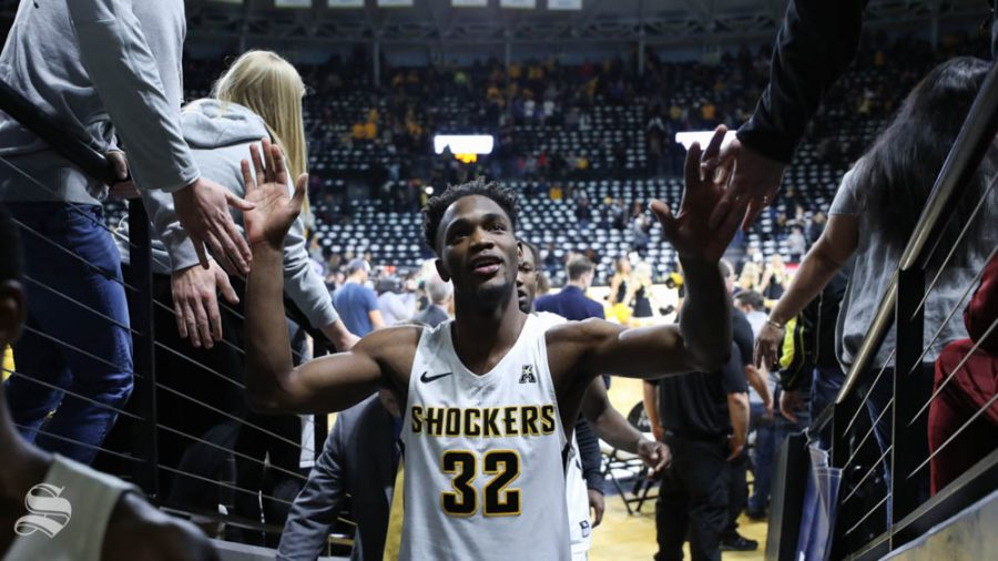 Wichita+State+forward+Markis+McDuffie+leaves+the+court+after+the+beating+Florida+Gulf+Coast+Eagles+75+-+65+in+Koch+arena