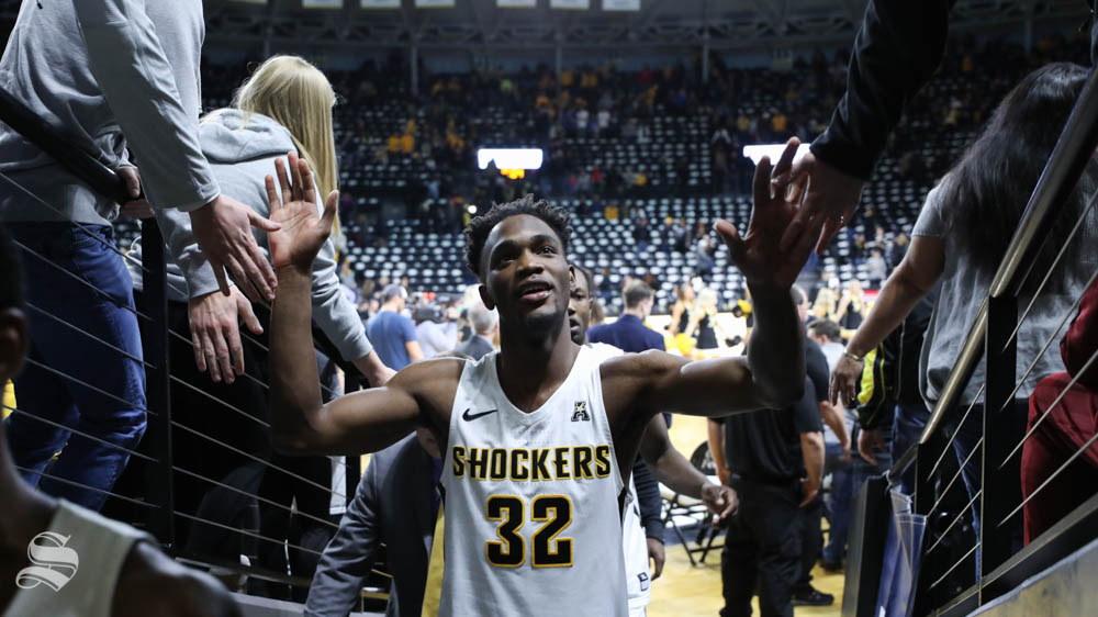Wichita State forward Markis McDuffie leaves the court after the beating Florida Gulf Coast Eagles 75 - 65 in Koch arena