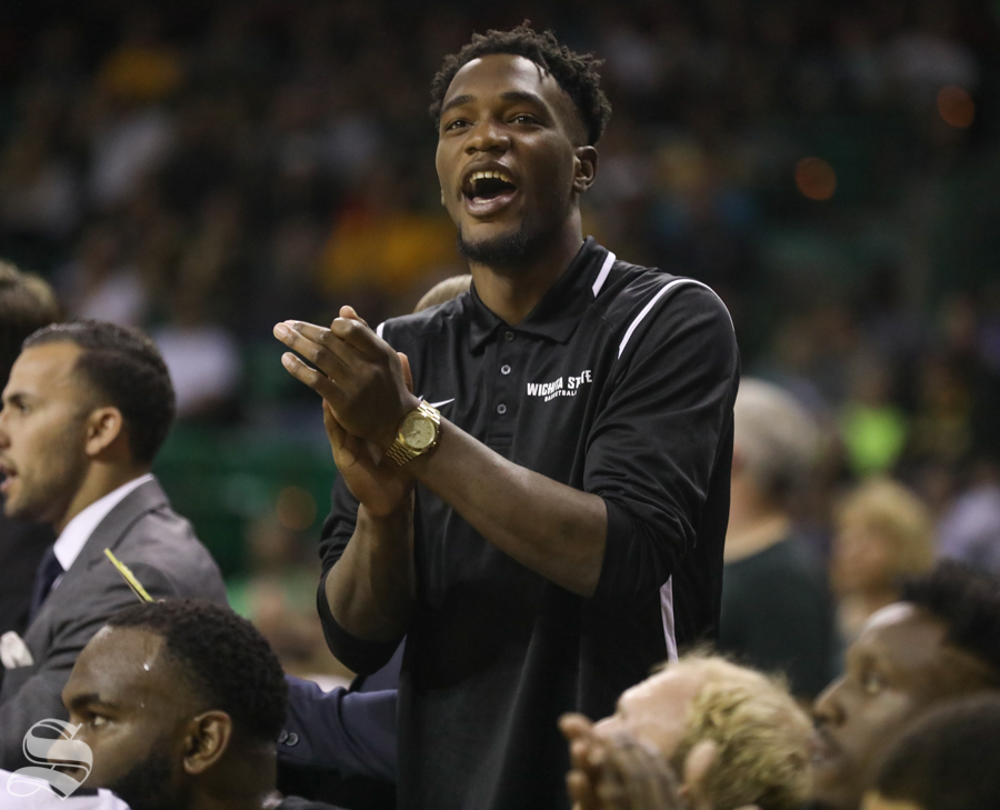 Wichita State forward Markis McDuffie cheers his team from the bench Saturday against Baylor.