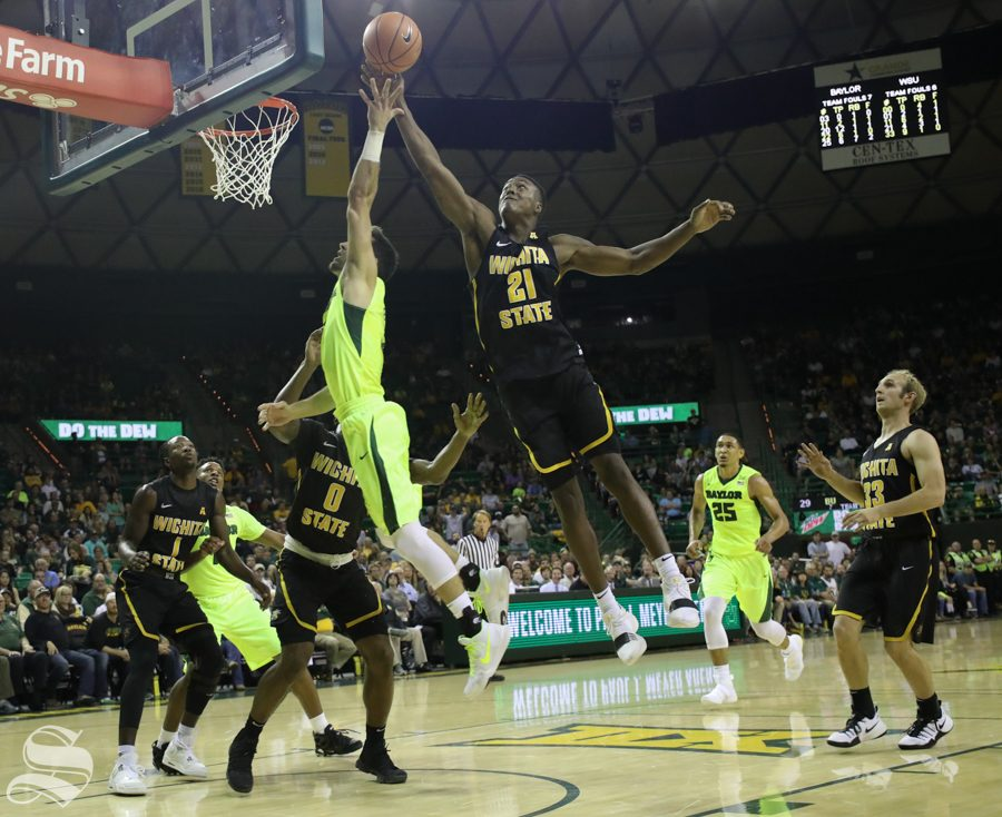 Wichita State forward Darral Willis Jr. stretches for a layup Saturday against Baylor.