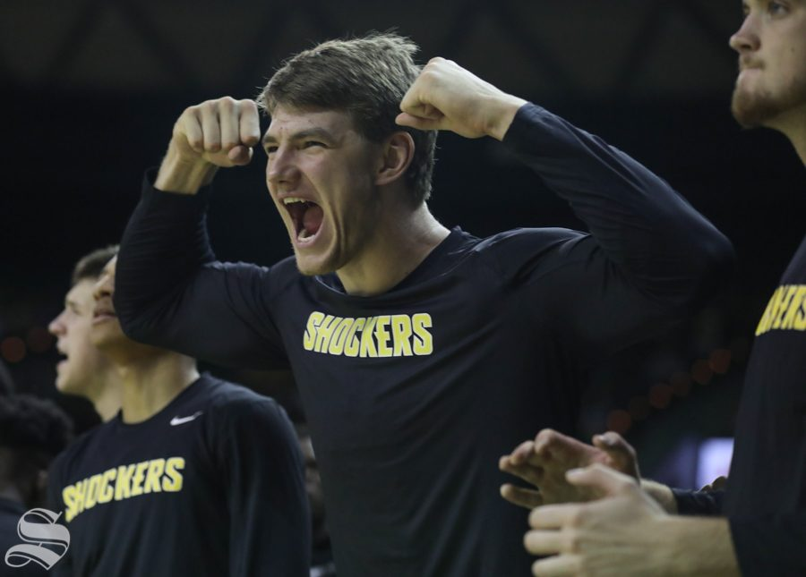 Wichita State center Asbjorn Midtgaard cheers after his teammates basket Saturday against Baylor.