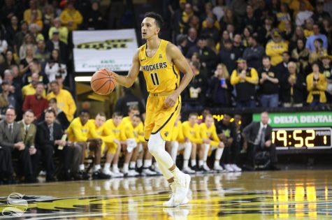 Wichita State guard Landry Shamet dribbles down the court against the South Dakota State Tuesday in Koch Arena.