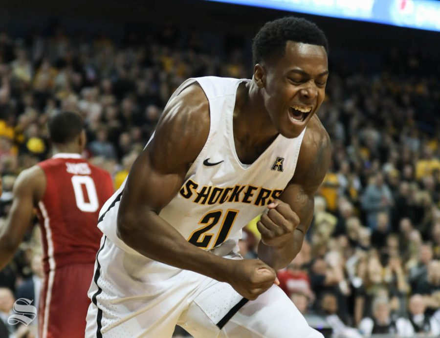 Wichita+State+forward+Darral+Willis+Jr.+celebrates+after+scoring+in+the+second+half+against+Oklahoma+Sooners+in+Intrust+Bank+Arena.