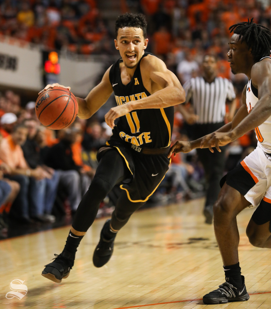 Wichita State guard Landry Shamet drives in for a bucket during the first half against Oklahoma State Cowboys in Gallagher-Iba Arena on Saturday.