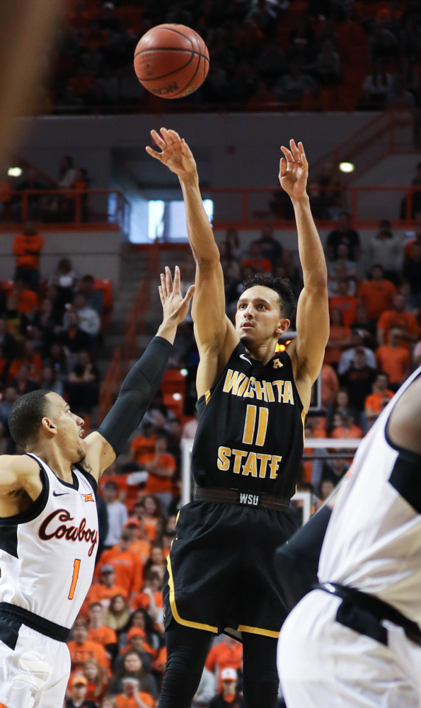 Wichita+State+guard+Landry+Shamet+sinks+a+three+point+basket+in+second+half+against+Oklahoma+State+Cowboys+in+Gallagher-Iba+Arena+on+Saturday.