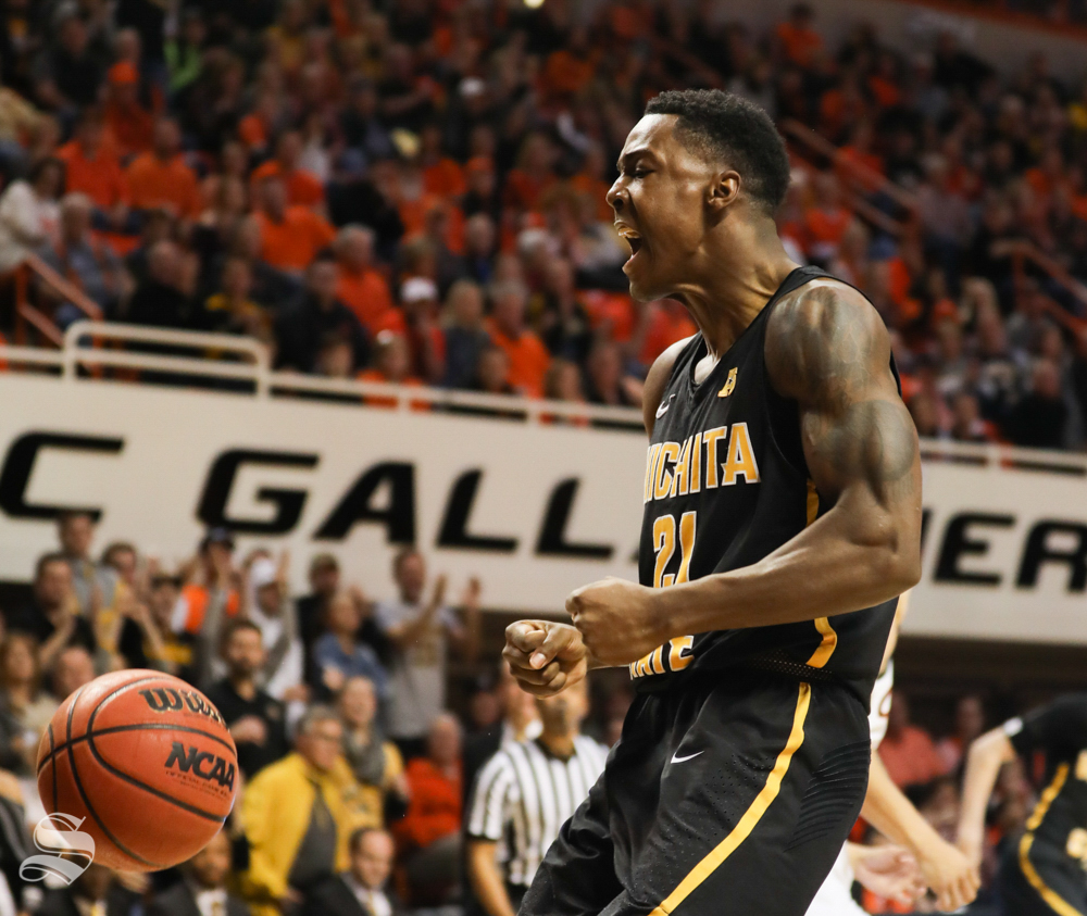 Wichita+State+forward+Darral+Willis+Jr.+celebrates+altering+making+a+dunk+during+the+second+half+against+Oklahoma+State+Cowboys+in+Gallagher-Iba+Arena+on+Saturday.