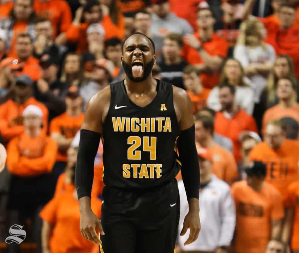 Wichita+State+center+Shaquille+Morris+sticks+out+his+tongue+after+a+call+from+the+refs+during+the+second+half+against+Oklahoma+State+Cowboys+in+Gallagher-Iba+Arena+on+Saturday.