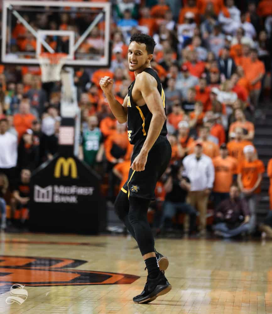 Wichita State guard Landry Shamet celebrates after Wichita State guard Austin Reaves hits a three point basket against Oklahoma State Cowboys in Gallagher-Iba Arena on Saturday.