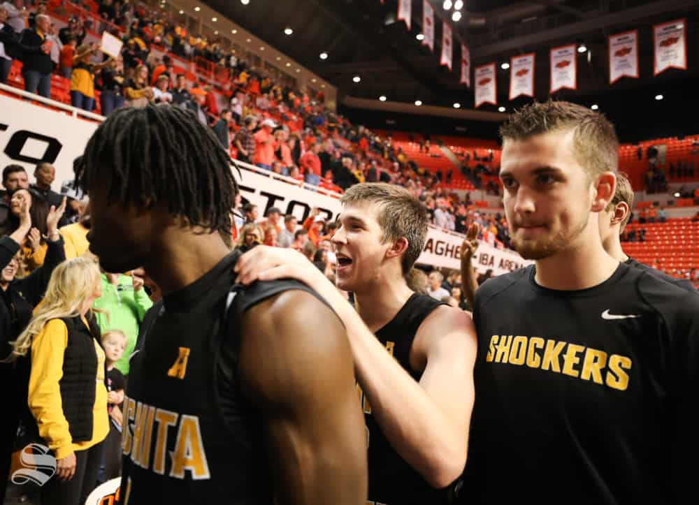 Wichita+State%27s+Zach+Brown%2C+Austin+Reaves+and+Brett+Barney+exit+Gallagher-Iba+Arena+on+Saturday+altering+beating+Oklahoma+State+Cowboys+78+%E2%80%93+66.