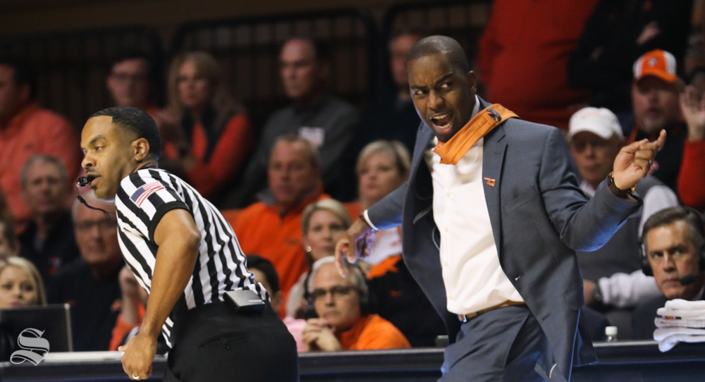 Oklahoma+State+head+coach+Mike+Boynton+shouts+at+players+during+the+first+half+of+the+game+against+Wichita+State+Shockers+in+Gallagher-Iba+Arena+on+Saturday.