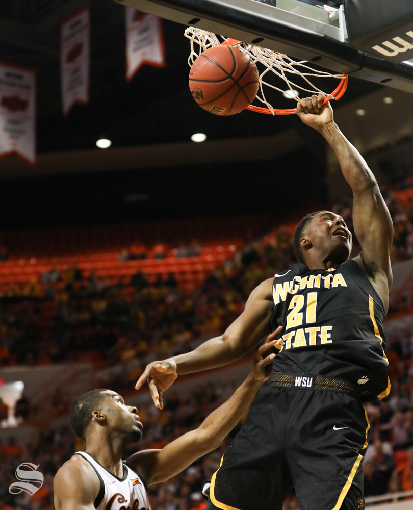 Wichita+State+forward+Darral+Willis+Jr.+makes+a+dunk+that+is+called+back+after+he+fouls+against+Oklahoma+State+Cowboys++during+the+first+half+in+Gallagher-Iba+Arena+on+Saturday.