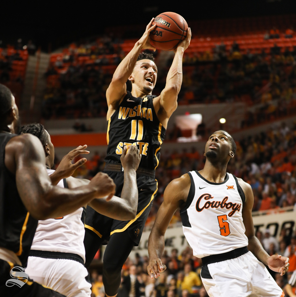 Wichita+State+guard+Landry+Shamet+drives+in+for+a+bucket+during+the+first+half+against+Oklahoma+State+Cowboys+in+Gallagher-Iba+Arena+on+Saturday.
