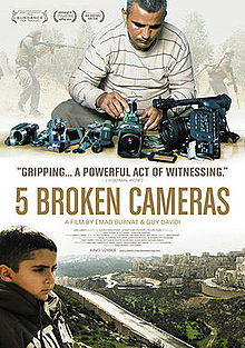 """""""5 Broken Cameras"""" was shot by a Palestinian civilian, Emad Burnat, living in the small farming village Bil'in, which is surrounded by occupied territory."""