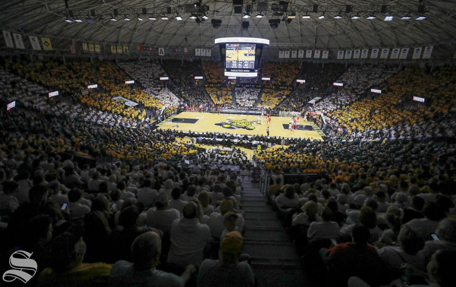 January+4%2C+2018%3A+Wichita+State+fans+%22stripe+the+arena%22++black%2C+yellow%2C+and+white+Jan.+4.+in+Koch+Arena.