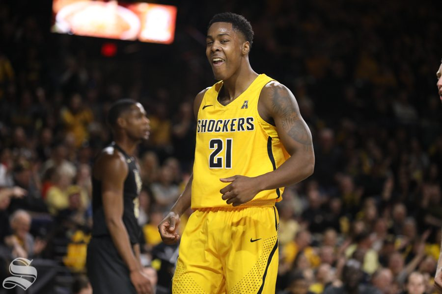 Wichita State forward Darral Willis Jr. celebrates after making a shot after a foul on UCF Wednesday night in Koch Arena.