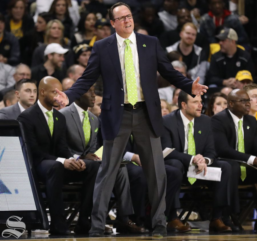 Wichita State head coach Gregg Marshall yells after a play during Wichita States victory over UCF..