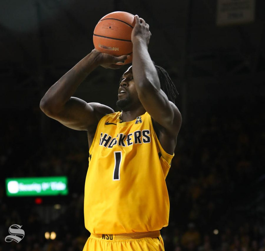 Wichita+State+forward+Zach+Brown+shoots+a+three+point+basket+against+the+South+Florida+Bulls+during+the+first+half+in+Koch+Arena.