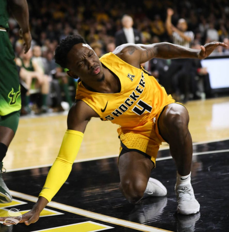 Wichita+State+guard+Samajae+Haynes-Jones+grimaces+after+being+hit+in+the+face+by+South+Florida+forward+Malik+Martin+during+the+first+half+in+Koch+Arena.