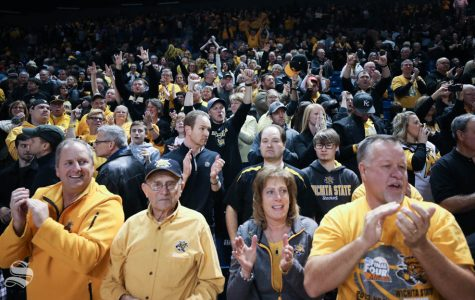 Wichita State Shockers fans cheer after the 72 – 69 victory against the Tulsa Golden Hurricane in Reynolds Center.