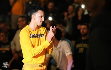 Wichita State guard Landry Shamet is announced to the crowd before the game between the Wichita State Shockers and the Temple Owls at Koch Arena.
