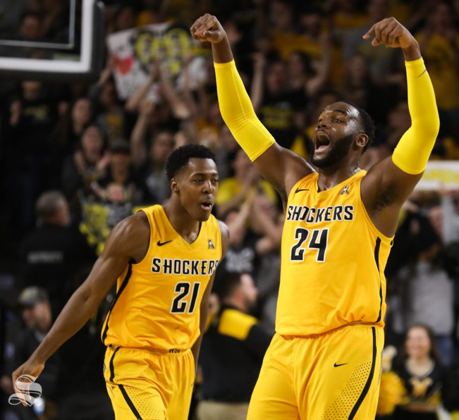 Wichita+State+forward+Darral+Willis+Jr.+and+Wichita+State+center+Shaquille+Morris+celebrate+after+a+play+Temple+Owls+during+the+second+half+at+Koch+Arena.