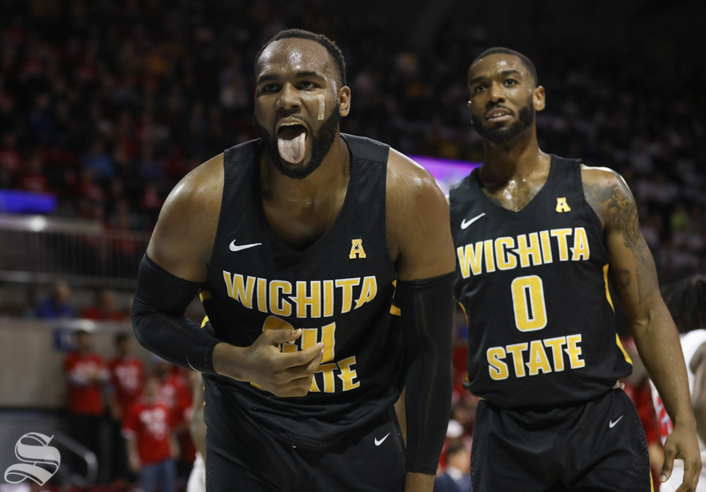 February 24, 2018: Wichita State center Shaquille Morris reacts after colliding with an SMU player Saturday at SMU.