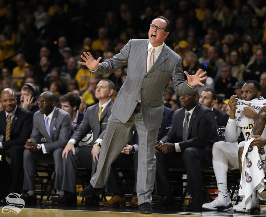 Wichita State head coach Gregg Marshall yells at a player Saturday in Koch Arena.