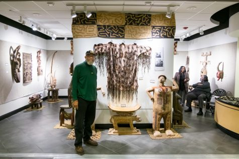 "Traditional West African arts are exhibited at Cadman Art Gallery by Mohamed Sharif. He calls the gallery as a ""cave"" area."