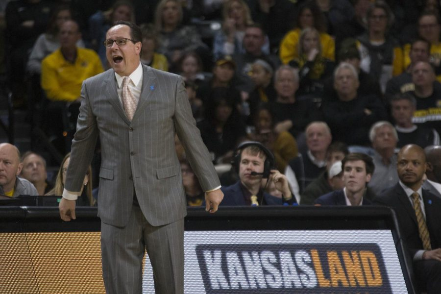 Wichita State coach Gregg Marshall calls a play during the game against UConn Saturday evening at Koch Arena.