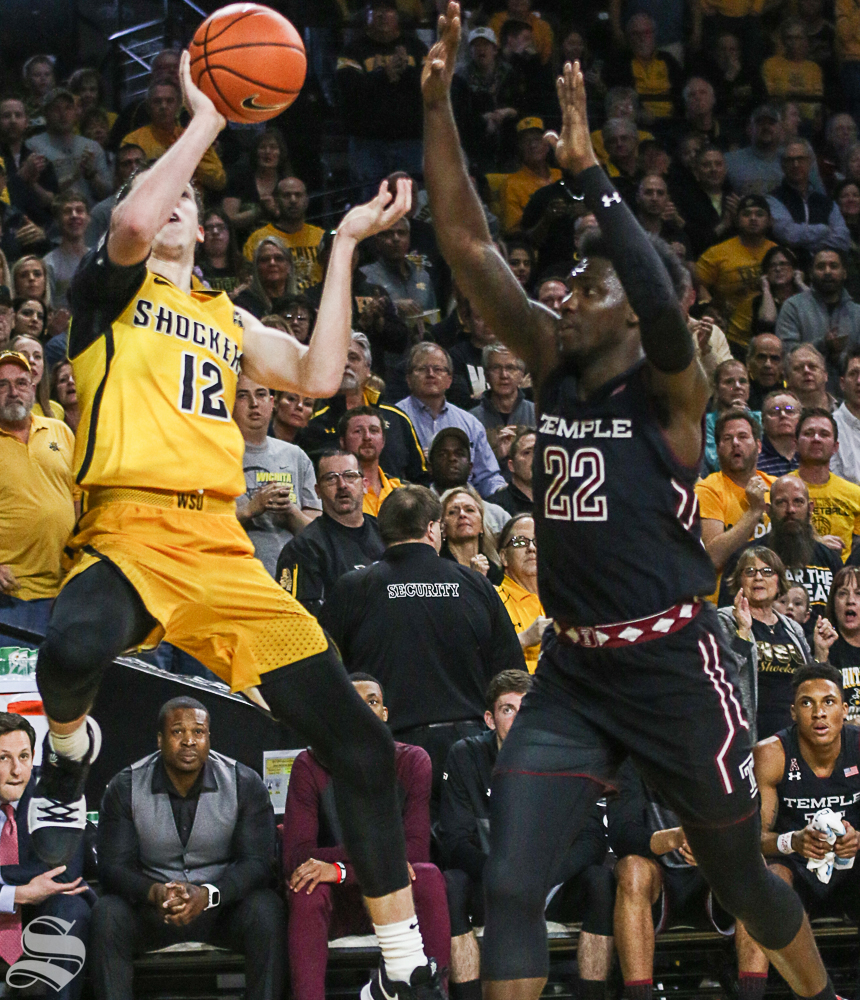 Wichita+State+guard+Austin+Reaves+shoots+against+Temple+forward+De%27Vondre+Perry+during+the+first+half+at+Koch+Arena.