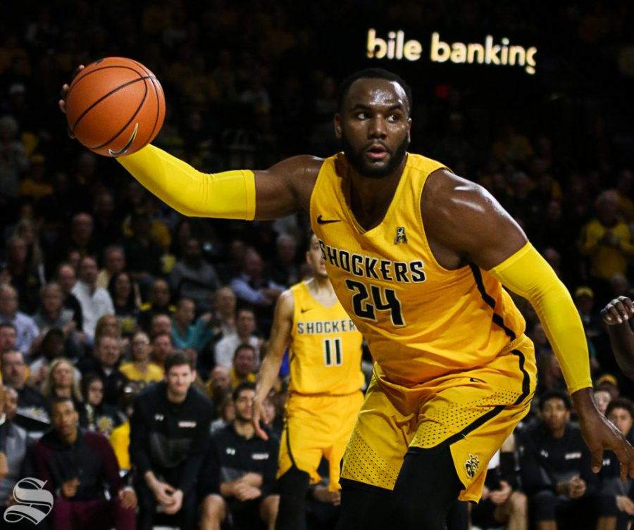Wichita State center Shaquille Morris grabs a rebound during the second half at Koch Arena.