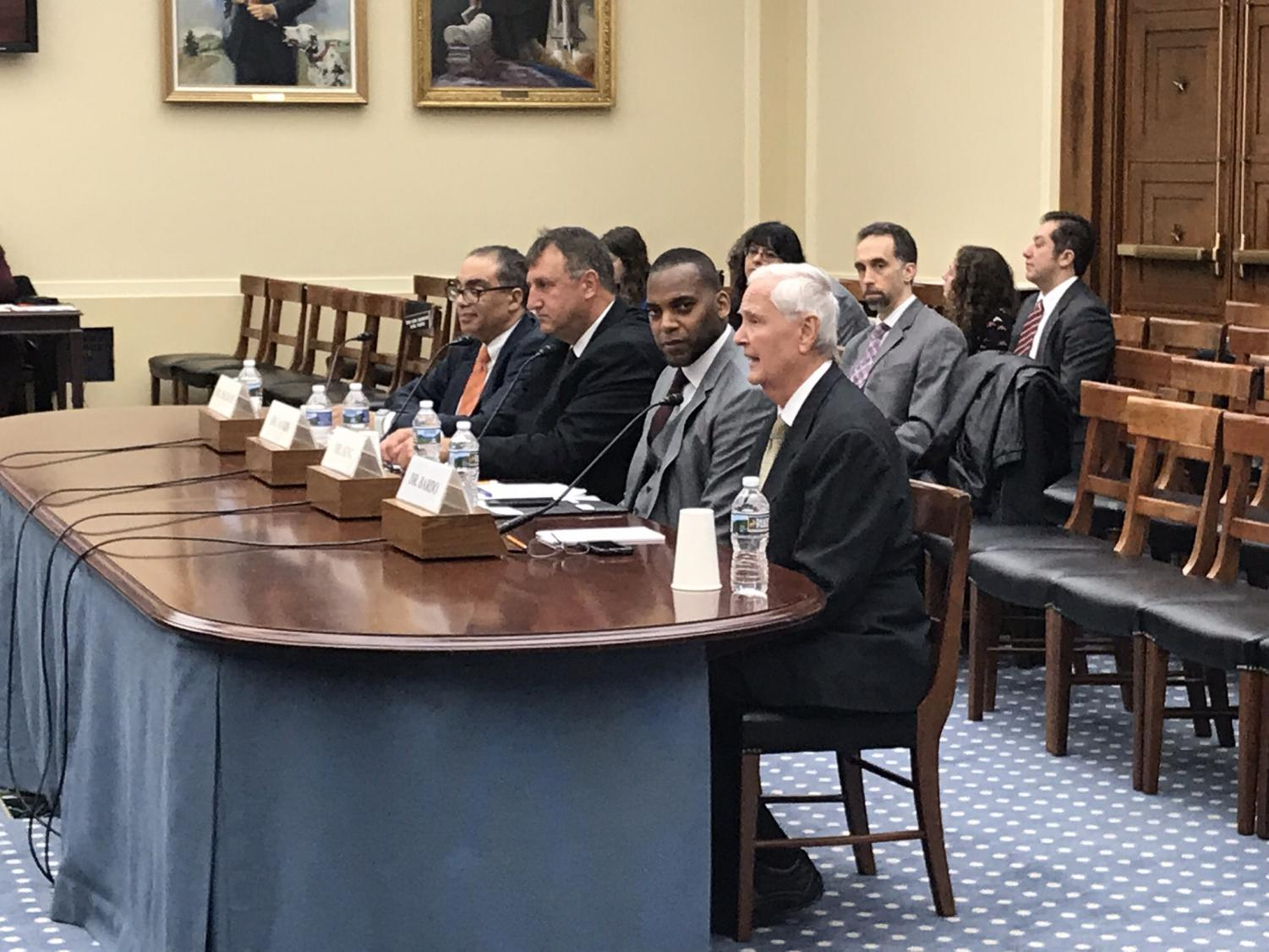 WSU President John Bardo, front, delivers testimony before the U.S. House Research and Technology Subcommittee.