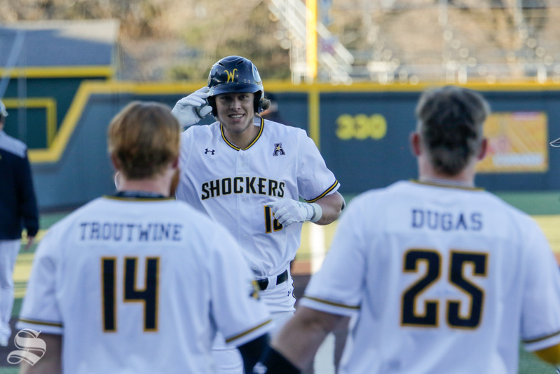 Wichita State's Alec Bohm runs home happily after hitting a grand slam against Nebraska on March 2nd at Eck Stadium.