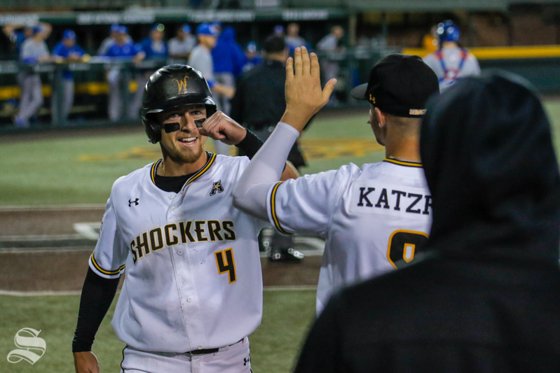 Wichita+State%27s+Jordan+Boyer+celebrates+with+teammate+Jacob+Katzfey+after+scoring+against+UTA+on+March+9%2C+2018+at+Eck+Stadium.