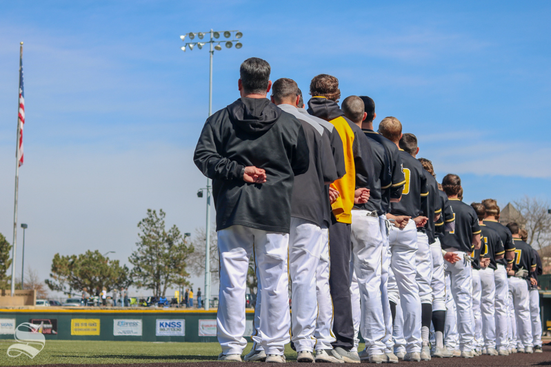 Wichita+State+Baseball+lines+up+for+the+national+Anthem.