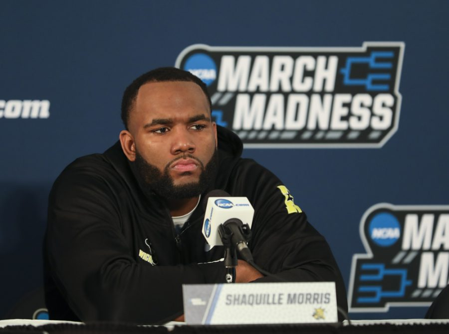 Shaquille Morris answers questions from the media during the press conference, Thursday March 15, 2018, in San Diego.