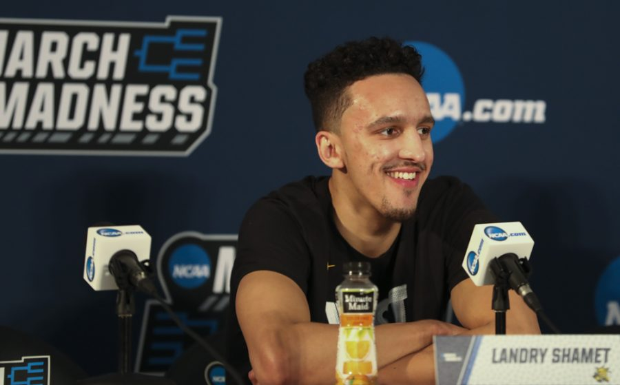 Landry+Shamet+answers+questions+from+the+media+during+the+press+conference%2C+on+March+15%2C+2018%2C+in+San+Diego.