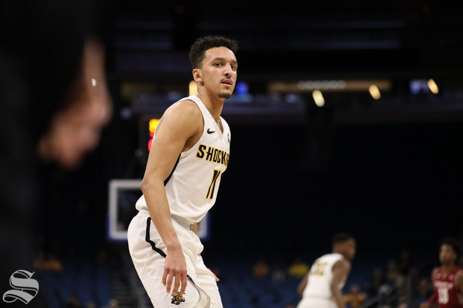 Wichita+State+guard+Landry+Shamet+looks+on+during+the+Shockers+victory+over+Temple+in+the+American+Conference+Tournament+quarter-finals.