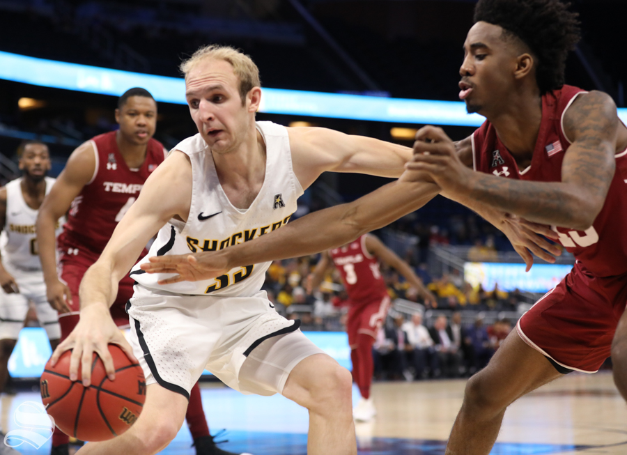 Wichita State guard Conner Frankamp fights for the ball during the Shockers victory over Temple in the American Conference Tournament quarter-finals.