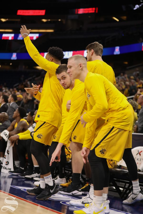 Wichita State center Brett Barney reacts to a play during the American Conference Tournament semifinals against Houston.