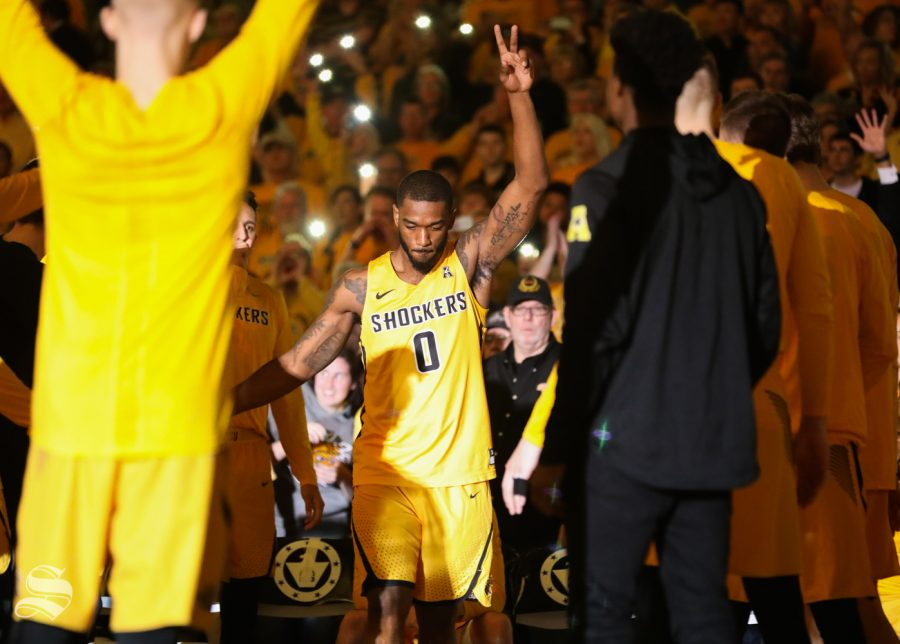 Wichita State forward Rashard Kelly is announced as one of the starting five before the game against the Cincinnati Bearcats at Koch Arena.