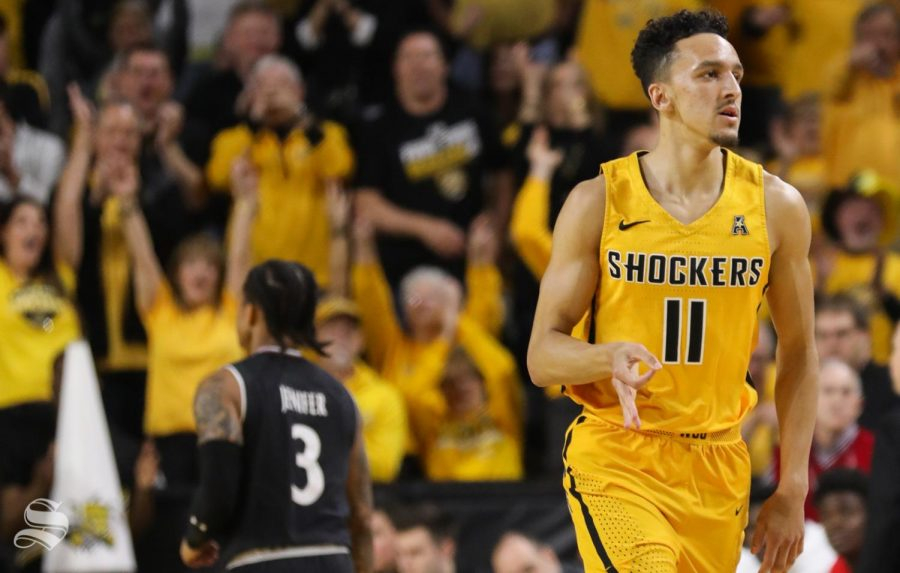 Wichita+State+guard+Landry+Shamet+celebrating+sinking+a+three+point+basket+during+the+first+half+against+the+Cincinnati+Bearcats+at+Koch+Arena.+