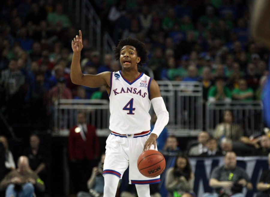 Kansas+guard+Devonte+Graham+calls+out+a+play+during+the+first+half+of+the+game+against+Seton+Hall+in+the+second+round+of+the+NCAA+Tournament.